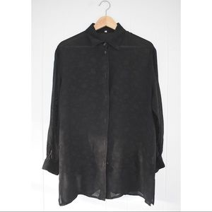 Tops - Unknown Longsleeve Collared Blouse Black Sz 40/6